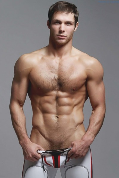 Buff And Handsome Hairy Jock - With Bulge (7)