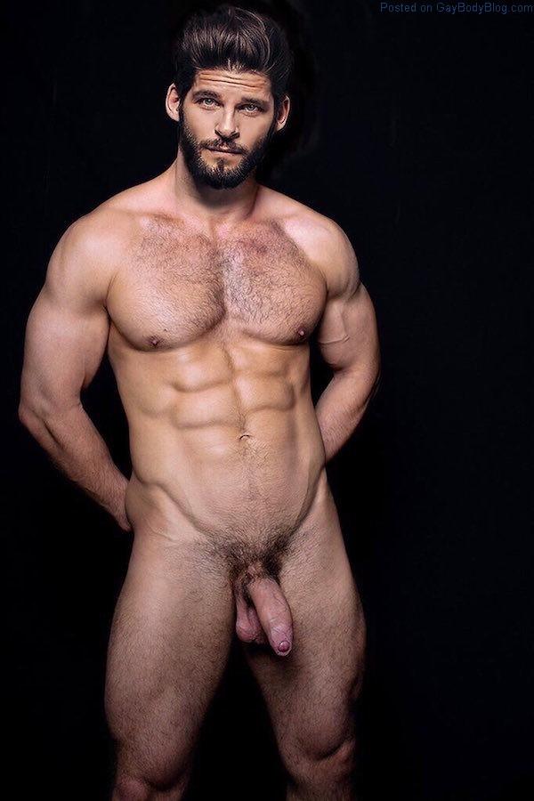 naked hairy muscular man
