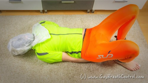 EmoBCSMSlave Hogtied breath controlled in Lycra