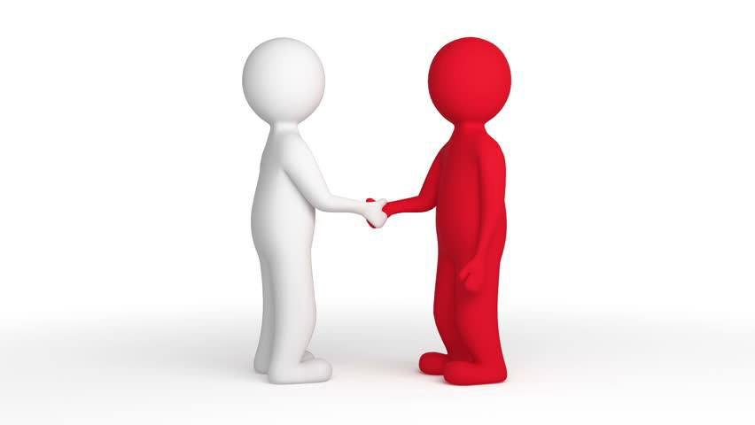 a red figurine shaking hands with a white figurine
