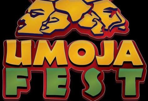 Illustration of african masks above Umoja Fest 2021