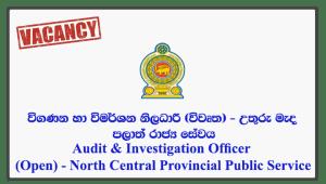 Audit & Investigation Officer (Open) - North Central Provincial Public Service