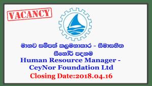 Human Resource Manager - CeyNor Foundation Ltd Closing Date: 2018-04-16