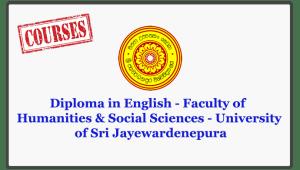 Diploma in English - Faculty of Humanities & Social Sciences - University of Sri Jayewardenepura