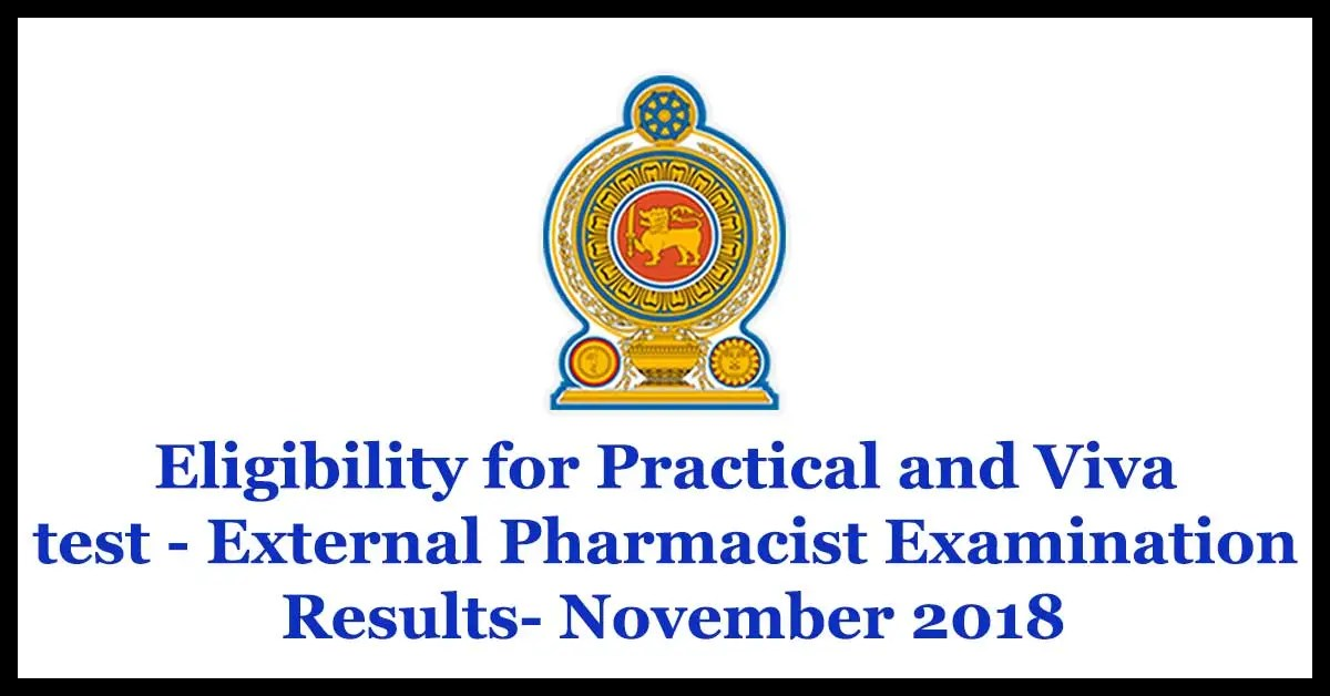 Eligibility for Practical and Viva test - External Pharmacist Examination Results- November 2018