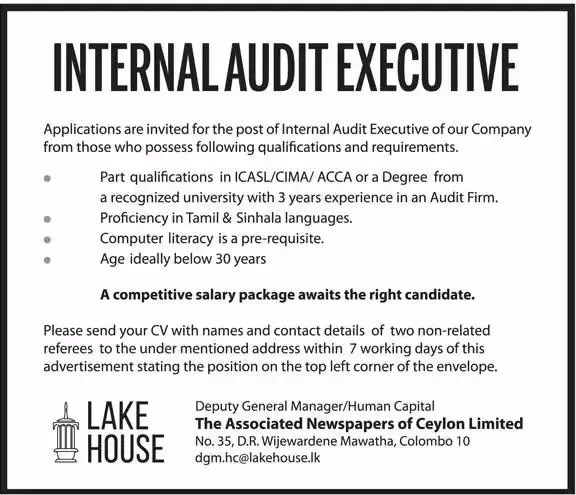 Internal Audit Executive - Lake House - Gazette lk