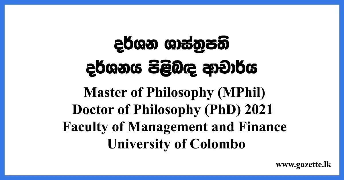 Master of Philosophy