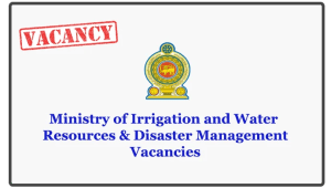 Ministry of Irrigation and Water Resources & Disaster Management Vacancies
