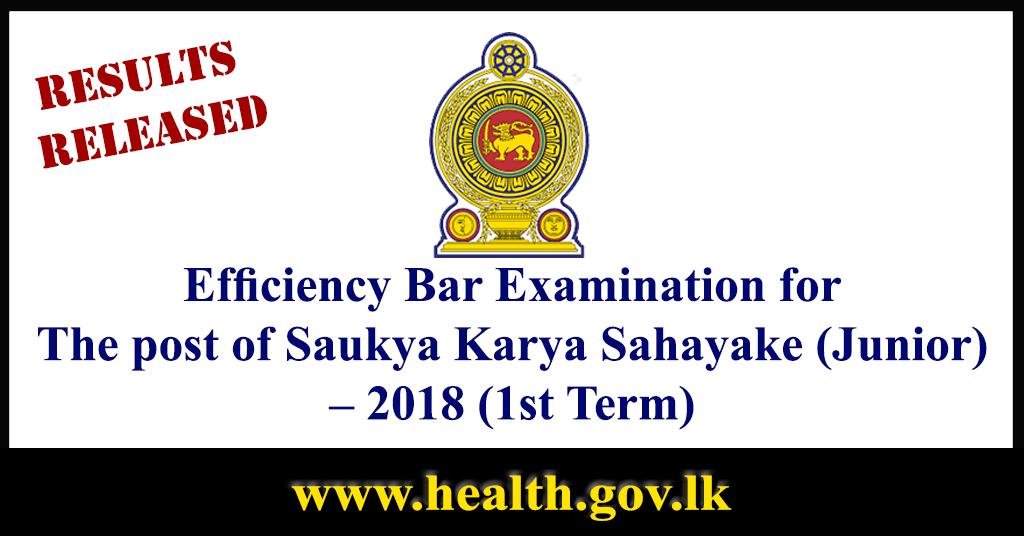 Exam Results Released : Saukya Karya Sahayake (Junior) in Grade III 2018 (1st Term)