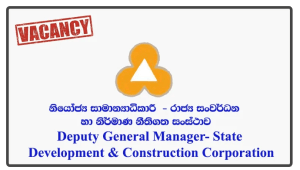 Deputy General Manager (Finance) - State Development & Construction Corporation