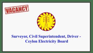 Surveyor, Civil Superintendent, Driver - Ceylon Electricity Board
