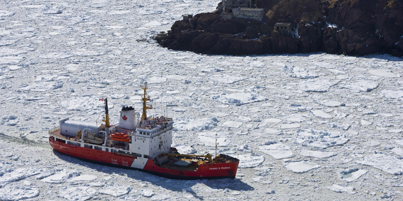 CCGA George R. Pearkes in ice covered water in the Narrows, St. John's