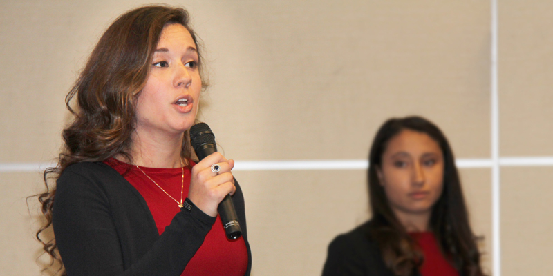 Emily Bland, president of Enactus Memorial, speaks at the team's hometown showcase on Sept. 21.
