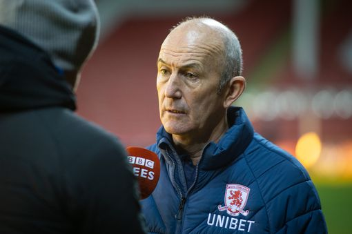 Boro boss Tony Pulis speaks after the defeat at Sheffield United in front of the media