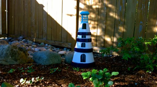 diy terra cotta garden lighthouse gazing in - Garden Lighthouse