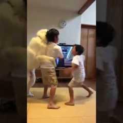 Cane separa due bambini che litigano