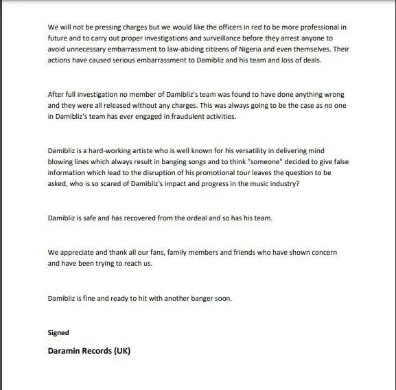 Damibliz 1 Month Nigeria Tour shortened by EFCC