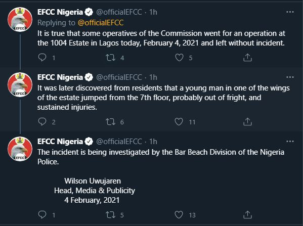 1004 Raid: Man jumped and died out of fright - EFCC
