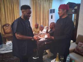Dr. Godwin Maduka, Jay Jay Okocha meet at Allen Onyema's Birthday