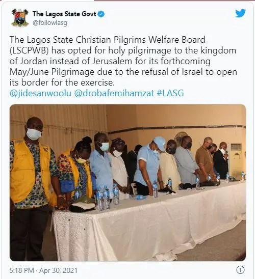 Lagos picks Jordan for Pilgrimage after Israel 'refuses' to reopen borders