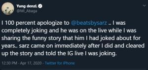 Sarz responds to MI's rant of him wetting
