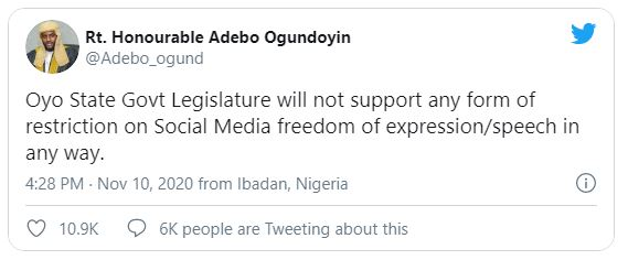Oyo Assembly: We will not support any form of restriction on Social Media
