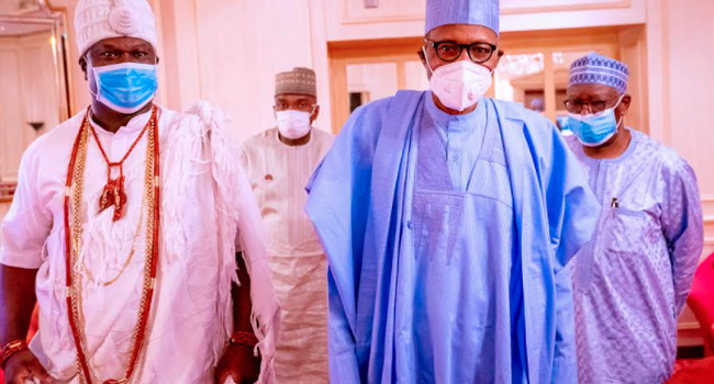 Ooni Visits Buhari In Aso Rock (Photos)