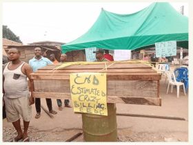 Abia residence protest with coffin over outrageous EEDC bill