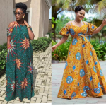 Open shoulder Ankara gown you should try out this summer