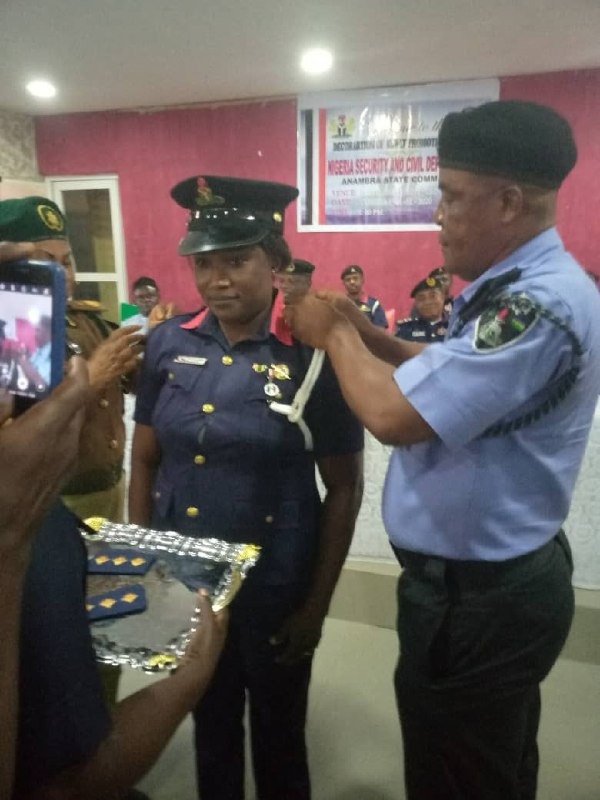 NSCDC ANAMBRA: DECORATION OF NEWLY PROMOTED SENIOR OFFICERS