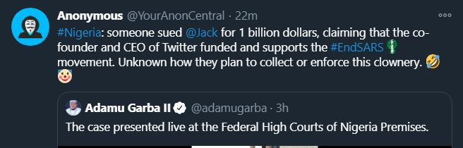 Anonymous reacts as Man sues Jack Dorsey for supporting #EndSARS Protests
