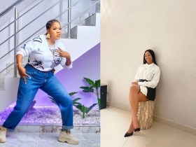 Adesuwa and Toyin competes on who wear hubby's clothe better