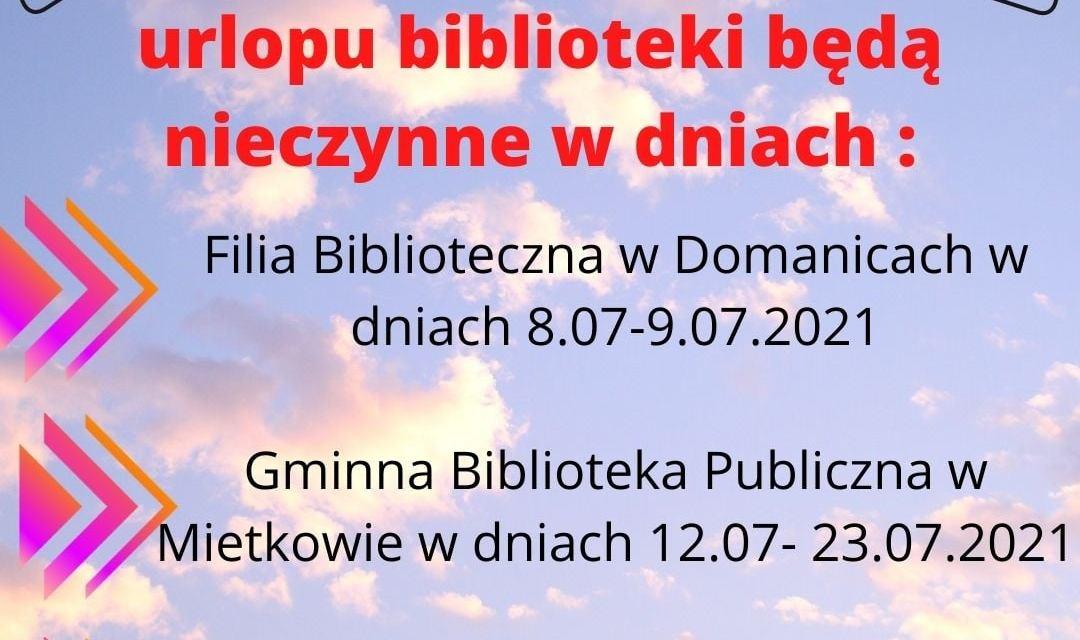 Informacja ! Urlop