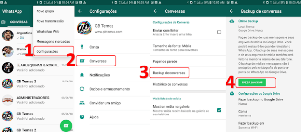 Fazer Backup de conversa no gbwhatsapp