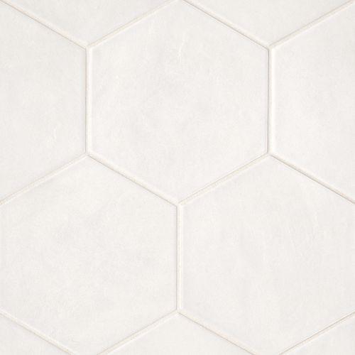 bedrosians allora solid white matte hexagon floor wall tile