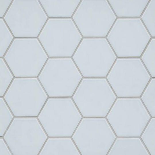 bedrosians hedron sky blue hexagon flat gloss wall tile