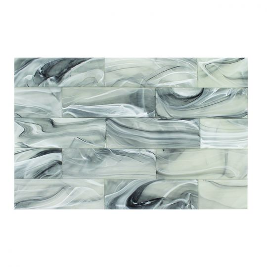 tesoro clouds thunder glass white on black 3 x 9 wall tile