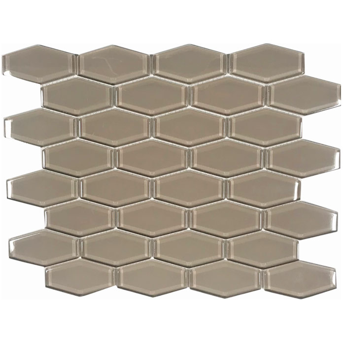 tesoro earth taupe 1 x 3 hexagon glass mosaic