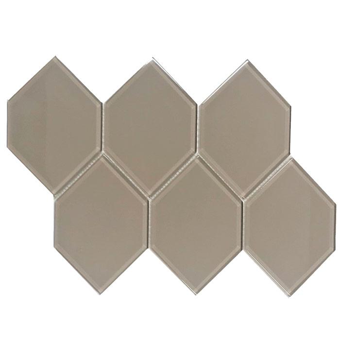 tesoro earth taupe 4 x 6 hexagon glass mosaic