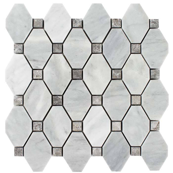 tesoro metropolitan deep blue elongated hexagon polished marble mosaic