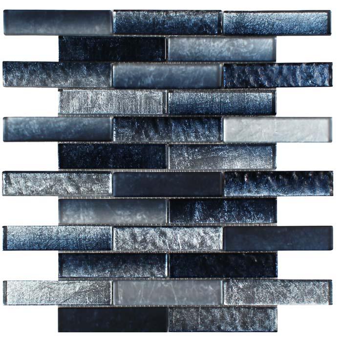 tesoro terra bella silver blue 1 x 4 glass mosaic