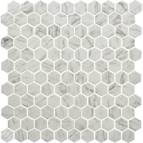 daltile uptown carrara hex wall glass mosaics