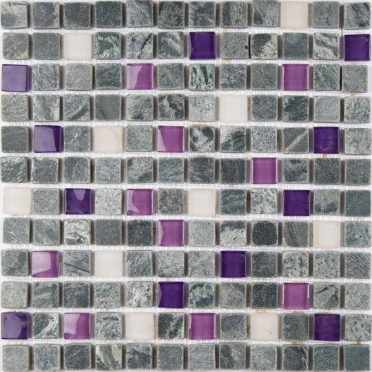 tumbled stone glass mardi gras 12 x 12 mosaic
