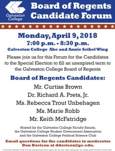 Galveston College Faculty Senate, SGA and Political Science Club  to host GCCD Board of Regents Candidate Forum
