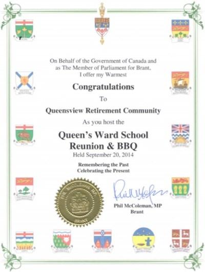 Queensview Retirement Community Award 2014