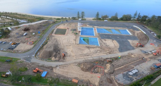Construction of the upgraded Optus Aquatic Centre