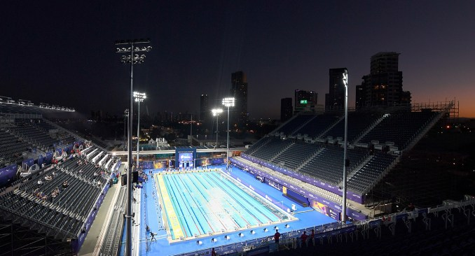 The sun sets on a day of competition at Optus Aquatic Centre
