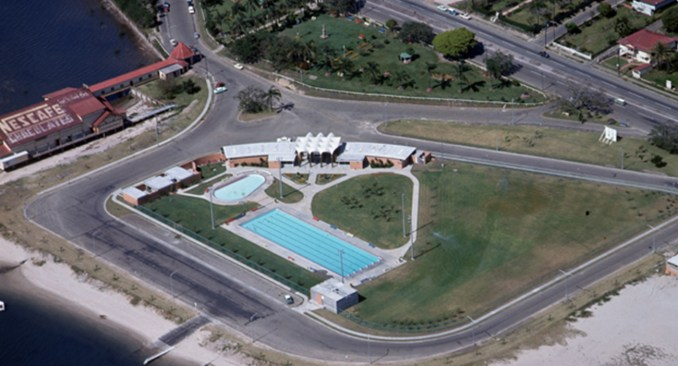 Aerial view of the Southport Olympic swimming pool complex 1966