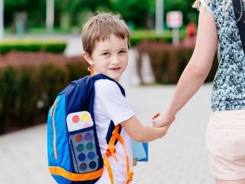 Yong boy walking to school