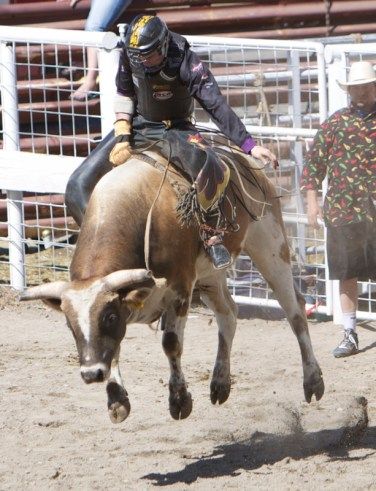 A bullrider holds on during the 2012 Cleatis Lacey Bullarama in Grand Coulee.
